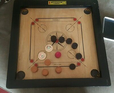 Indian Wooden Carrom Board - Size 50 x 50cm with some counters