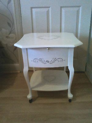 vintage painted sewing box table