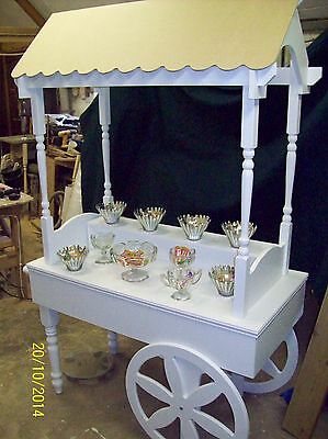 WEDDING   CANDY CART with MDF ROOF  WITH SHELF AND BAG HOLDER FOR SALE