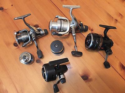 Shimano Daiwa Abu fishing reels 4 in total, 2 new 2 vintage spare spools bundle