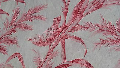 French antique sm pc muted red off-white cotton bird dragonfly butterfly reeds