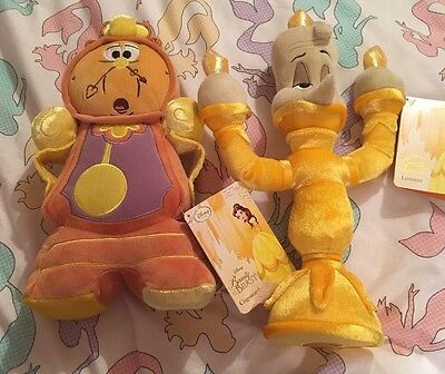 Disney Store Beauty And The Beast Lumiere And Cogsworth Plush Toys Soft HTF