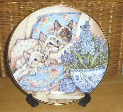 Danbury Mint Siamese Cats Plates Collection / Three In A Row By Debbie Cook