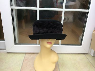 Ladies Black Wool Hat For Weddings/races/special Occasions,pristine,by M & S