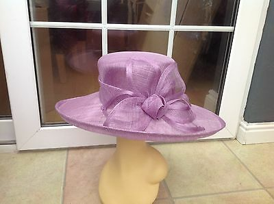 Ladies Lilac Wide Brim Hat For Weddings/races/special Occasions/new & Tags