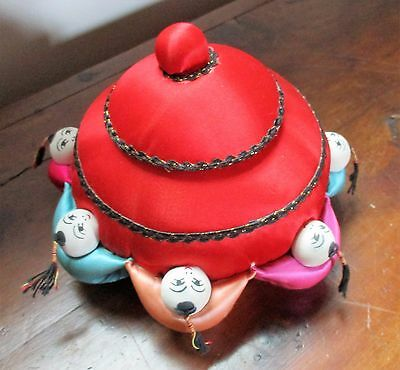 Vintage Chinese Men Pin Cushion with Secret Notions Box Inside