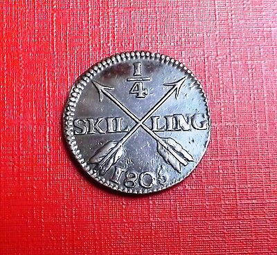 Sweden 1806 Quarter Skilling Very Nice Condition  Very Nice Rare Coin