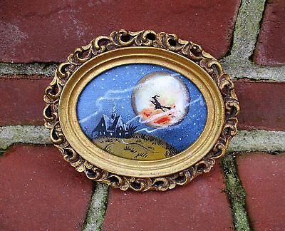 American Halloween Oil Painting of Moon Over a House on the Hill Framed By Gray