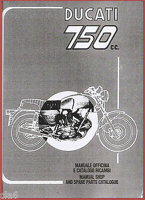 Ducati 750 GT Sport Workshop Manual and Spare Parts Catalogue published 1974 NEW