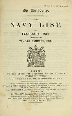 WW1 Royal Navy Lists 1914 - 1918 (29 Volumes on 1 DVD)