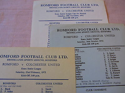 74-75 Romford v Colchester 'A' Team Essex Senior lge&Cup - 3 Different games S/S