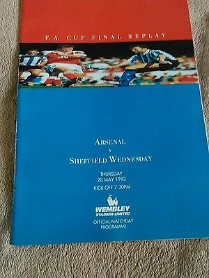 Arsenal v Sheffield Wednesday IMMACULATE FA CUP FINAL REPLAY 20/5/1993