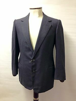 "Tailored 2 Piece Suit Gieves & Hawkes Ltd Savile Row Grey/blue Pinstripe 40"" 35"""