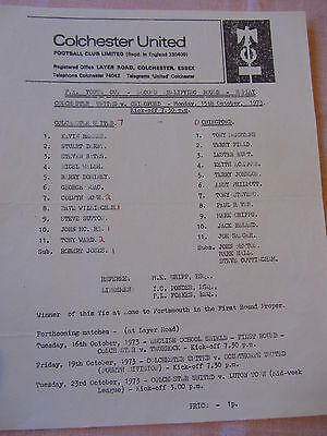 73-74 Colchester United v Chingford FA Youth Cup 15 Oct 73 s/s