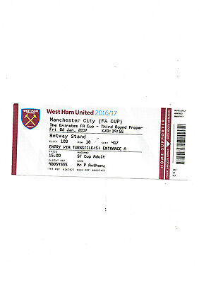 West Ham v Manchester City FA Cup 3rd Round Match ticket 7/1/17