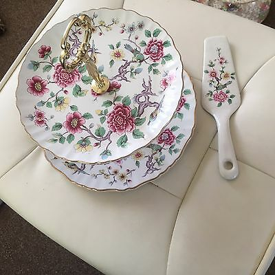 James Kent Old Foley Chinese Rose 2 tier cake stand/server