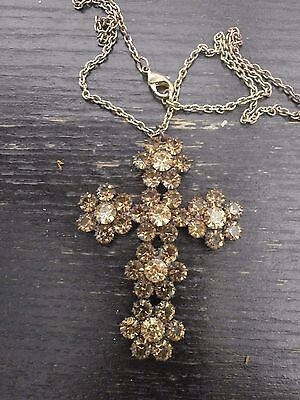 Large Marks And Spencer Multi Bronze Diamante Crucifix And Chain