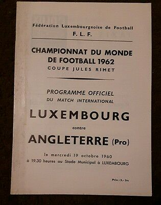 Football Programme Luxembourg v England 1962