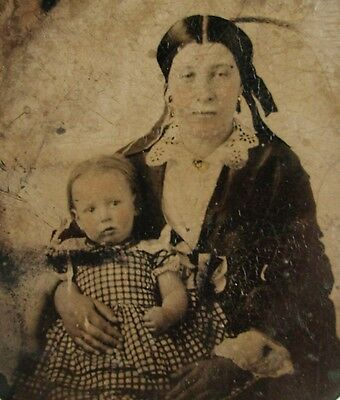 Antique Civil War Era Tintype Photo Portrait Of A Young Mother & Precious Child