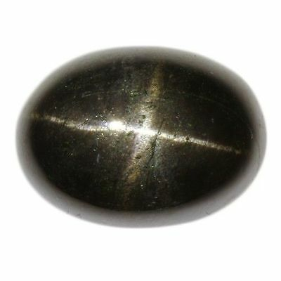 12x10mm OVAL CABOCHON-CUT JET-BLACK NATURAL INDIAN STAR DIOPSIDE GEMSTONE £1 NR!