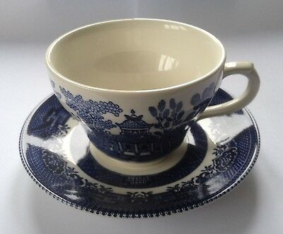 Churchill Blue Willow Pattern Teacup and Saucer - Very Good Condition