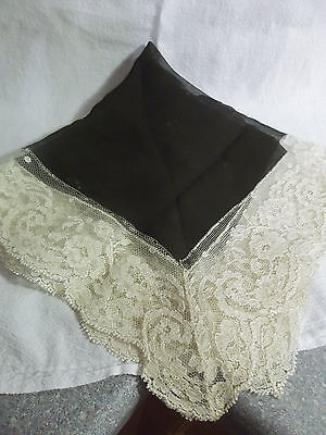 Vintage Sheer Black Piece with White Lace