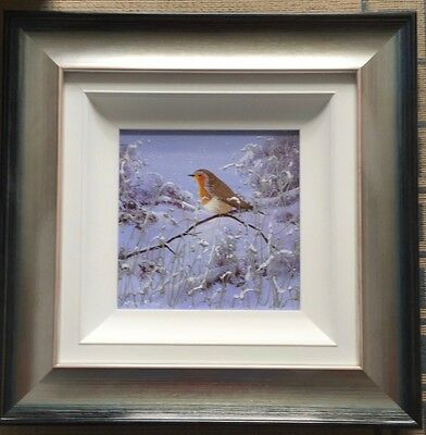 Mary Shaw original framed floral painting on board Robin in the Snow