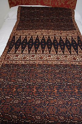 Rare Antique Indonesian Hand Painted Batik Fabric Small Split