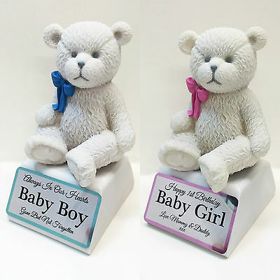 Personalised Baby Boy / Girl Teddy Bear Grave Memorial Ornament Any Text Printed