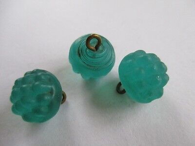3 Antique Green Berry Moulded Glass Buttons Swirl Backs