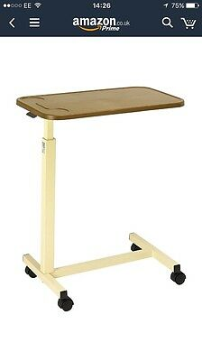 Hospital Bed Table - Height Adjustable Wheeled Overbed Table With Plastic Top