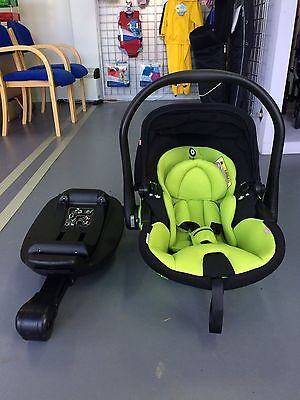 Kiddy Evolunafix Group 0+ Lie Flat Car Seat In Apple With Isofix Base 2