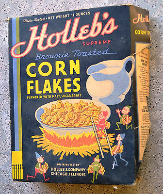 Hollebs Corn flakes cereal box 1940s