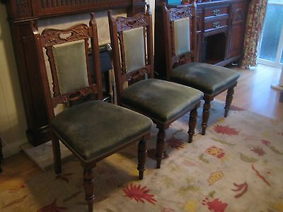 3 antique oak dining chairs in green