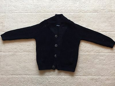 Next Boys Black Thick Knitted Cardigan, Age 7