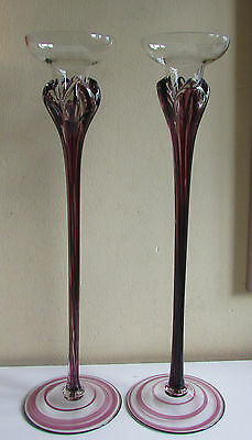 2 Glass Candlesticks with a Touch of Purple in the Design