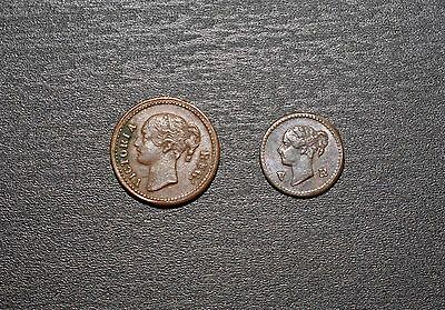 Model Quarter and Eighth Farthings, 1848.