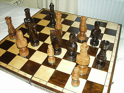 """Very LARGE Chess Board and Figures.  32"""" X 32"""" Board.  5"""" to 8"""" Figures. Wooden."""