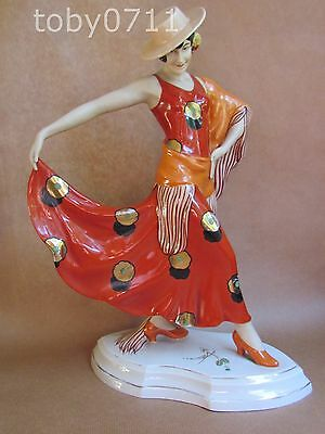 ROYAL DUX ART DECO LARGE FIGURE OF SPANISH LADY BALANCE VINTAGE SCHAFF (Ref922)