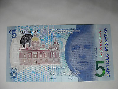 Bank of Scotland Polymer £5 Pound Note Low Number 000025 MINT Uncirculated