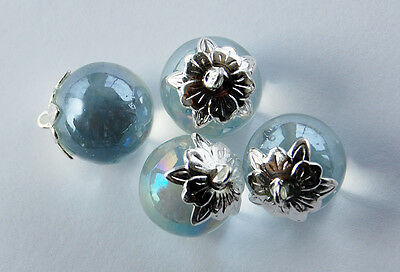 VINTAGE GLASS MARBLE BEAD PENDANTS CLEAR AB GLASS SILVER CAPS 14mm