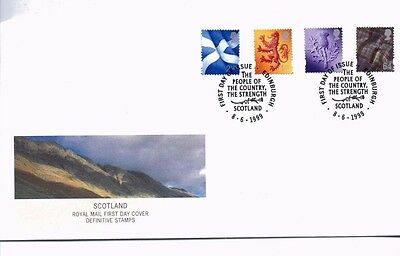 1999 Royal Mail FDC - New Regional Definitives - Scotland 4 stamps - 8 June 1999