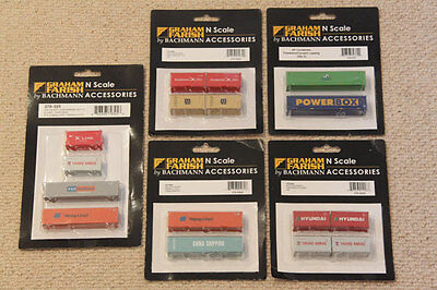 5 packs of assorted Graham Farish N Gauge containers (16 containers in total)