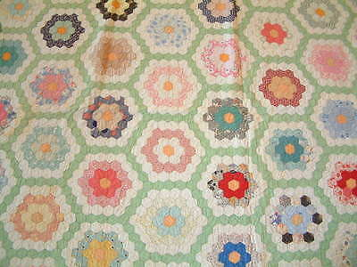 Antique Hand Stitched Flower Garden Quilt 1930 Awesome Colors &  Fabrics 78 X 70