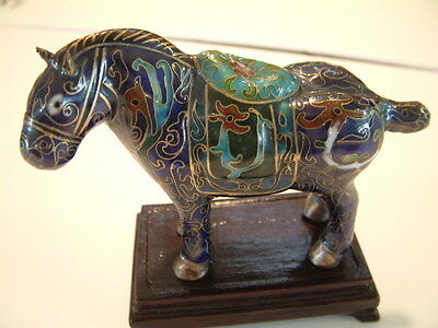 Antique Chinese Cloisonne Horse Statue with Dragons on Saddle and wood  Stand