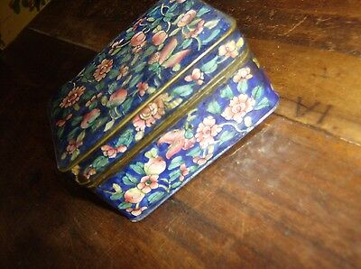 Beautiful Antique Chinese Cloisonne Box With Blue Floral Decoration