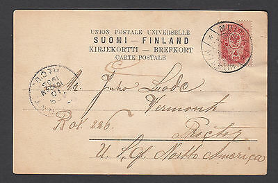 Finland 1905 cover (picture post card) Multia to USA