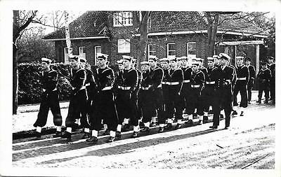 1958 Royal Navy Sailors at Wilhelmshaven German Submariners Memorial RP Postcard