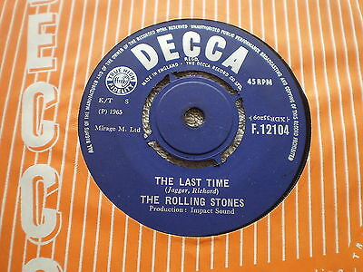 """THE ROLLING STONES-The Last Time/Play with Fire– UK 7"""" SINGLE- 1965-1C/3C- Decca"""