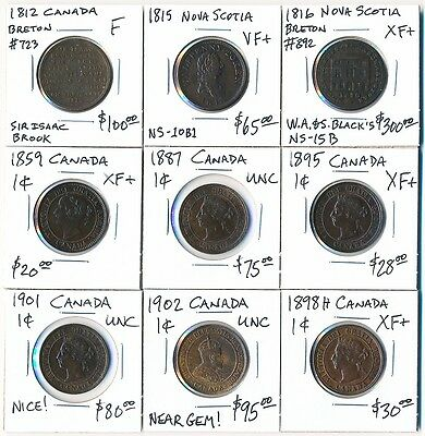 (1812-1902) Nine Canada Tokens & Lrg Cents   Valuable Lot Must See   No Reserve